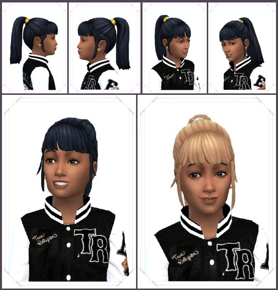 Sims 4 Girly's Color Band Ponytail at Birksches Sims Blog