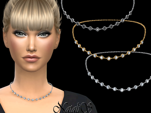 Sims 4 Round crystals necklace v1 by NataliS at TSR