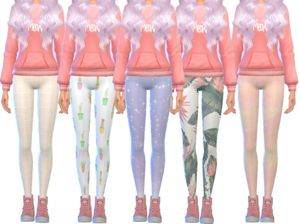 Tumblr Themed Leggings by Wicked Kittie at TSR image 4024 Sims 4 Updates