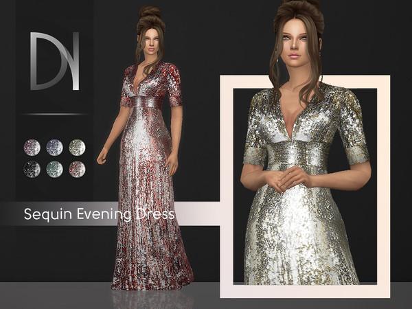 Sims 4 Sequin Evening Dress by DarkNighTt at TSR