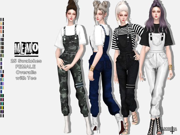 Sims 4 MEMO Overalls with Tee by Helsoseira at TSR
