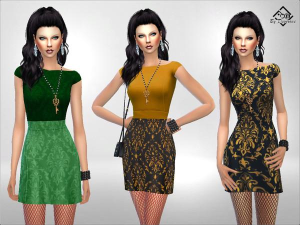 Sims 4 Damask Mini Dress by Devirose at TSR