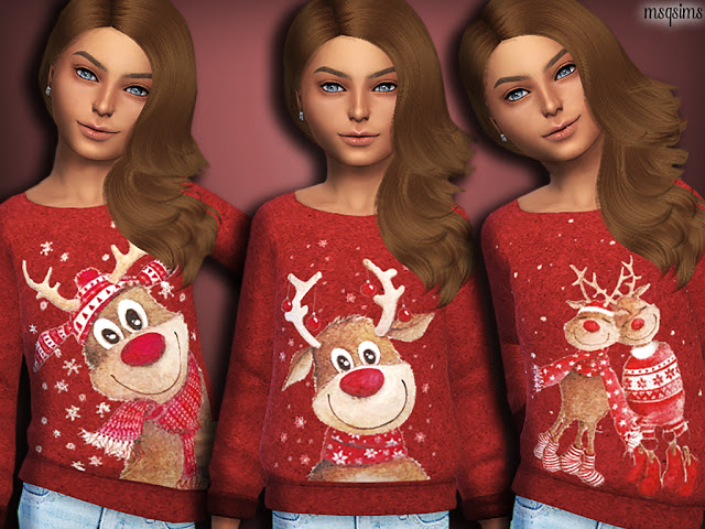 Sims 4 Reindeer Sweaters at MSQ Sims