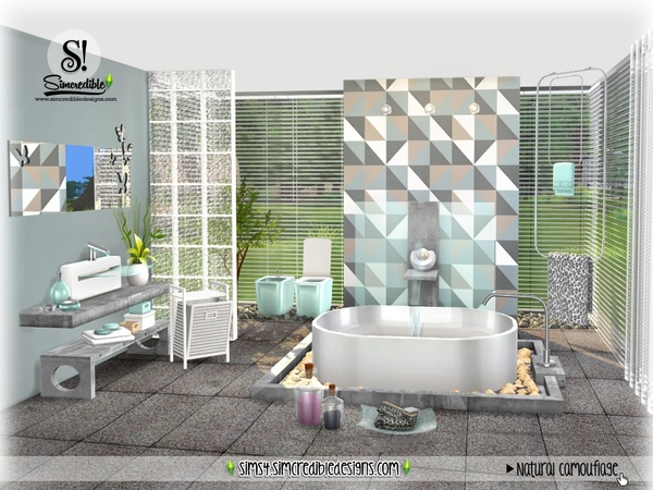 Sims 4 Natural Camouflage bathroom by SIMcredible at TSR