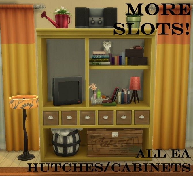 Sims 4 MORE SLOTS for all EA Hutch/Cabinets by simsi45 at Mod The Sims