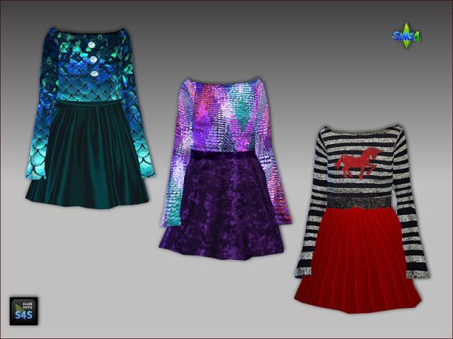 Sims 4 Festive clothings for females by Mabra at Arte Della Vita