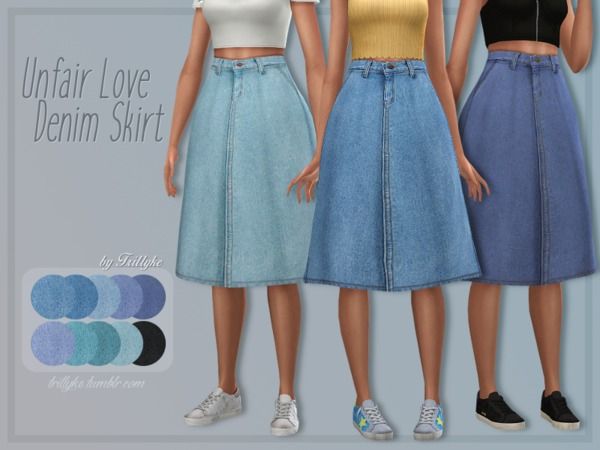 Unfair Love Denim Skirt by Trillyke at TSR image 537 Sims 4 Updates