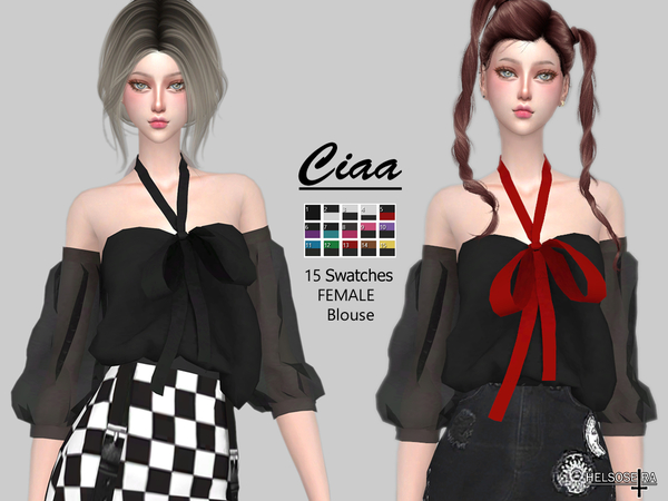 Sims 4 CIAA Off Shoulder Blouse by Helsoseira at TSR