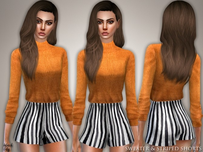 Sims 4 Sweater and Striped Shorts by Black Lily at TSR