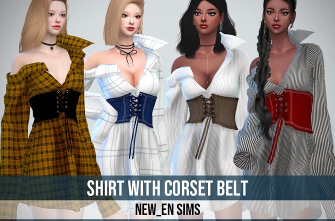 Shirt With Corset Belt at NEWEN image 583 670x442 Sims 4 Updates