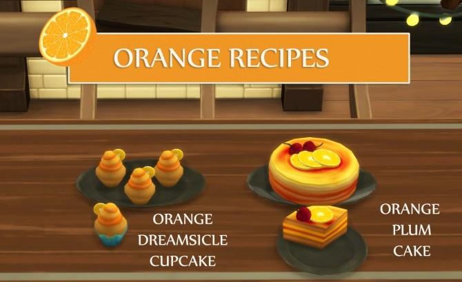 Sims 4 Orange Recipes: Cupcake and Plum Cake by icemunmun at Mod The Sims