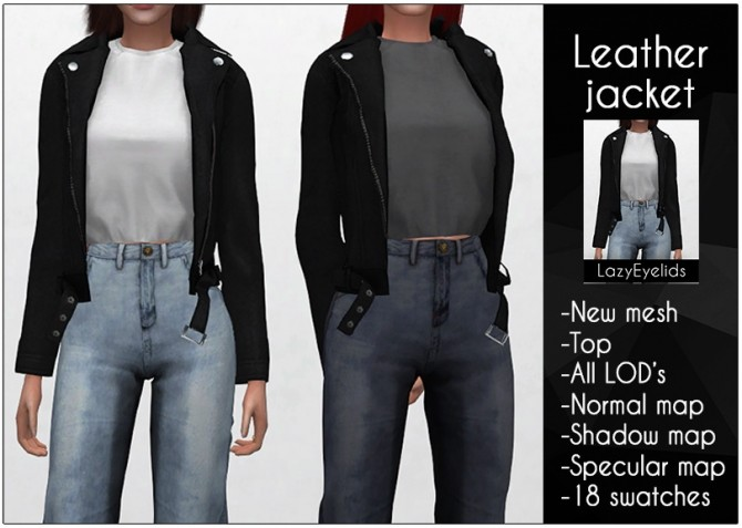 Leather jacket F at LazyEyelids image 619 670x477 Sims 4 Updates