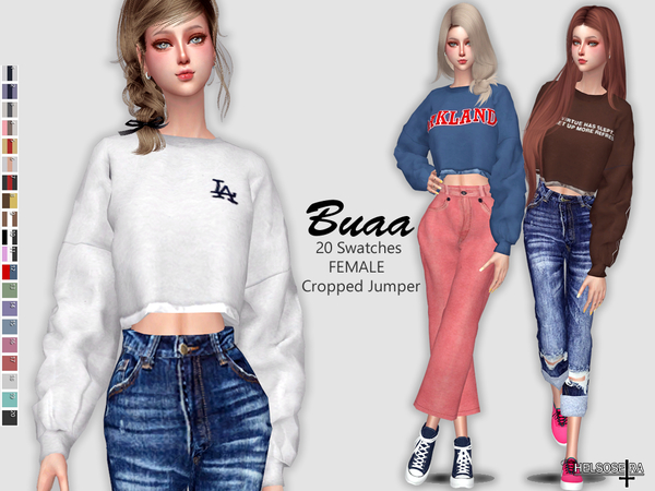 BUAA Oversized Cropped Jumper by Helsoseira at TSR image 64 Sims 4 Updates