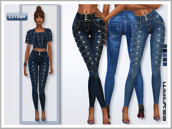 Sims 4 Jeans with cross cords by EsyraM at TSR