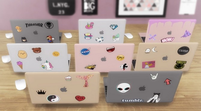 MacBook 2017 with stickers functional at Descargas Sims image 719 670x369 Sims 4 Updates