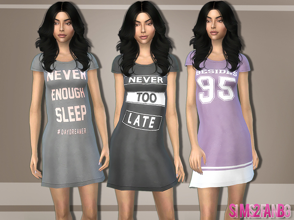 Sims 4 363 Kylie Sleepwear Dress by sims2fanbg at TSR