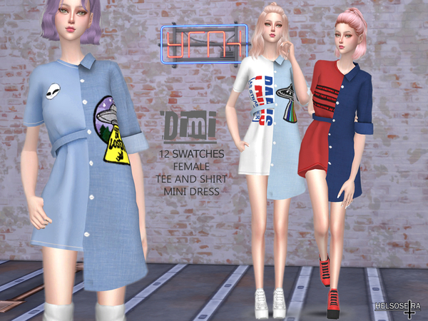 DIMI Tee and Shirt Mini Dress by Helsoseira at TSR image 7912 Sims 4 Updates