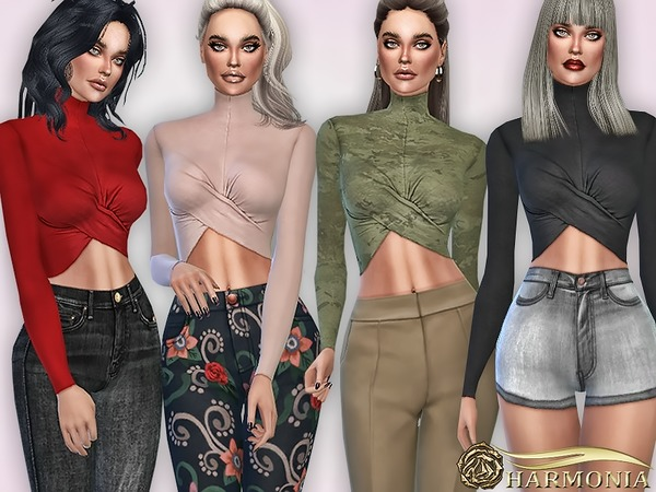 Sims 4 Wrap Turtleneck Crop Top by Harmonia at TSR
