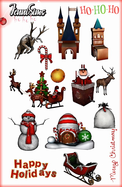 Sims 4 Christmas Decor & Functional Chairs (12 Items) at Jenni Sims