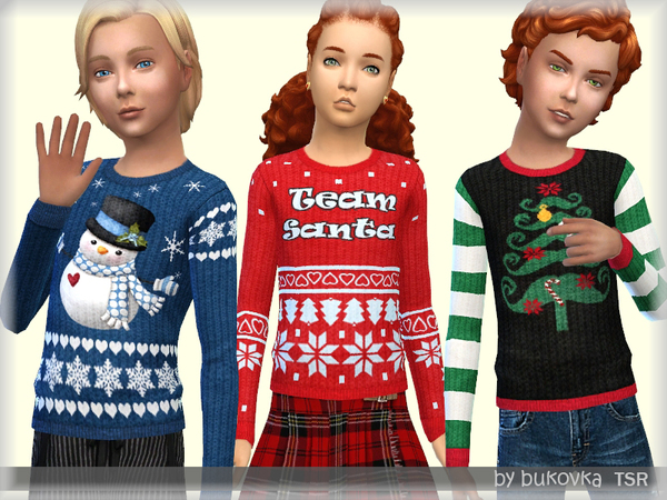 Sims 4 Holiday Sweater for kids by bukovka at TSR