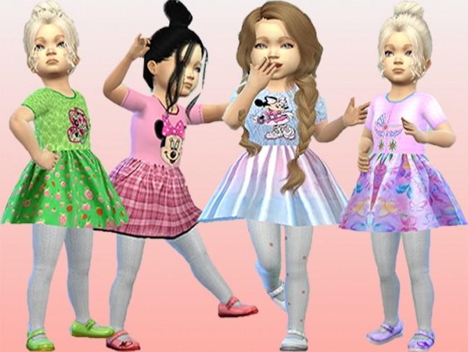 Sims 4 Summer colorful princess sleeveless dress at Trudie55