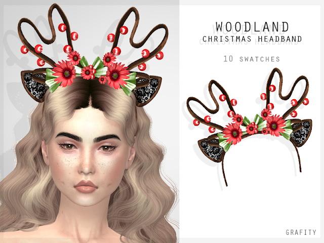 Sims 4 WOODLAND CHRISTMAS HEADBAND at Grafity cc