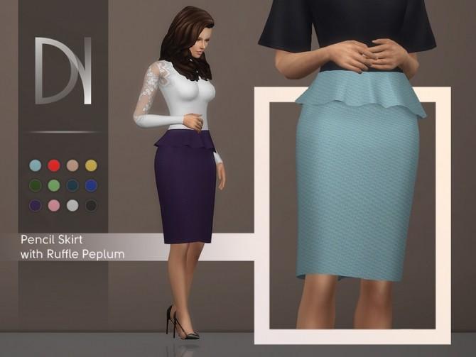Sims 4 Pencil Skirt with Ruffle Peplum by DarkNighTt at TSR