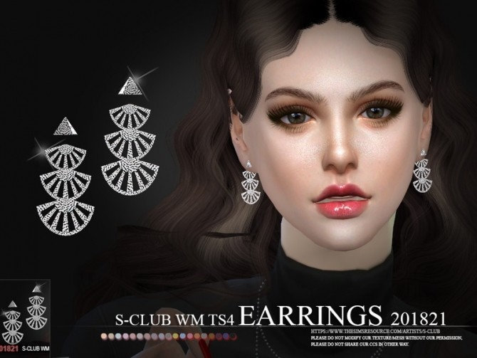 WM Earrings F 201821 by S Club at TSR image 968 670x503 Sims 4 Updates