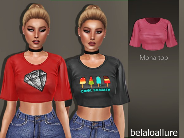 Sims 4 Belaloallure Mona Top by belal1997 at TSR