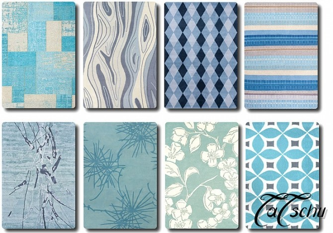 Blue modern Rugs by TaTschu at Blooming Rosy image  Sims 4 Updates
