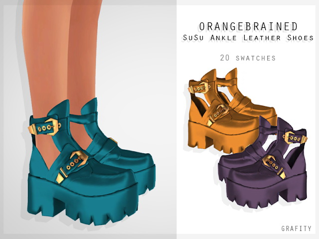 ORANGEBRAINED SUSU ANKLE LEATHER SHOES at Grafity cc image 1004 Sims 4 Updates