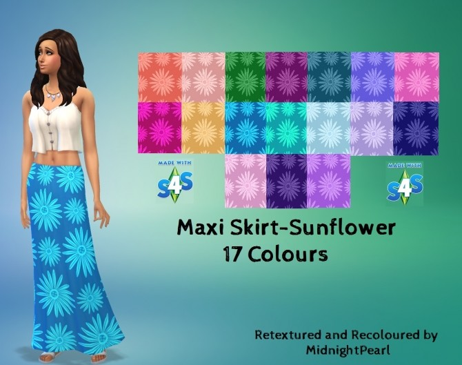 Sims 4 Maxi Skirt Sunflower 17 Colours by wendy35pearly at Mod The Sims