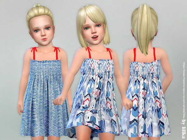Sims 4 Blue Summer Dress by lillka at TSR