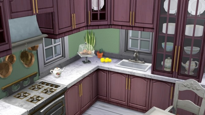 Sims 4 Tall Order Vintage Kitchen recolored in Posh Palette at Miss Ruby Bird