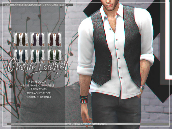 Sims 4 Classic Leather shirt by sugar owl at TSR