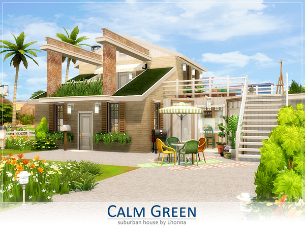 Calm Green house by Lhonna at TSR image 1119 Sims 4 Updates