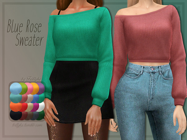 Sims 4 Blue Rose Sweater by Trillyke at TSR