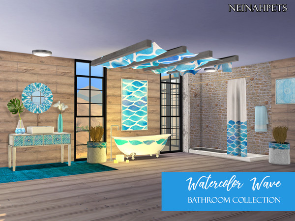 Sims 4 Watercolor Waves Bathroom Collection by neinahpets at TSR