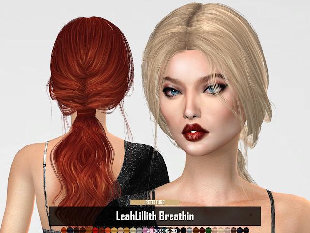 Sims 4 LeahLillith Breathin Hair RETEXTURE by RUCHELLSIMS at REDHEADSIMS