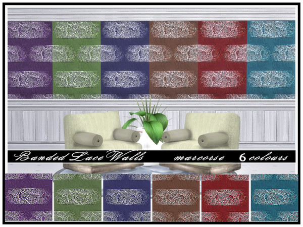 Sims 4 Banded Lace Walls by marcorse at TSR
