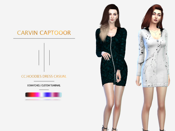 Sims 4 Hoodies Dress Casual by carvin captoor at TSR