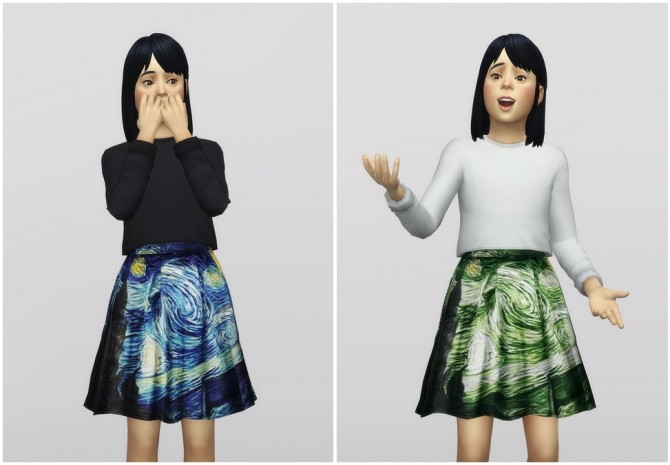 Sims 4 Starry night two piece outfit for kids 4 colors at Rusty Nail
