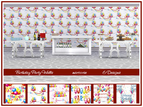 Birthday Party Walls by marcorse at TSR image 122 Sims 4 Updates