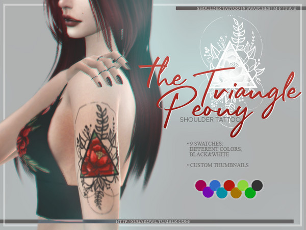 Sims 4 The Triangle Peony tattoo by sugar owl at TSR