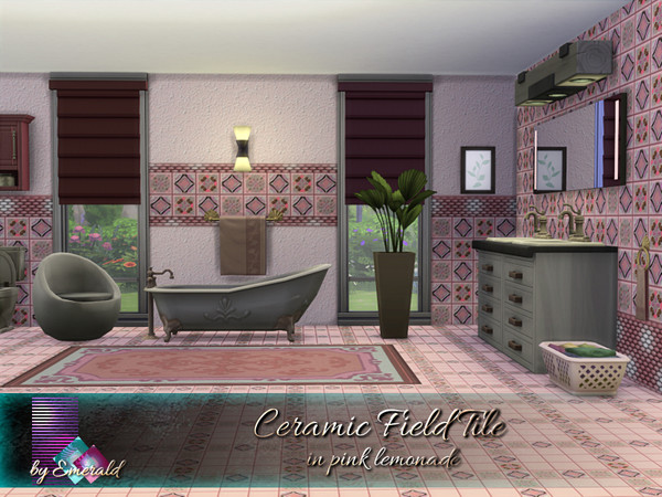 Sims 4 Ceramic Field Tile in pink lemonade by emerald at TSR