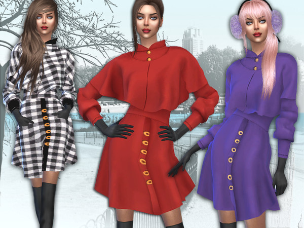 Sims 4 Coat with caped by Sims House at TSR