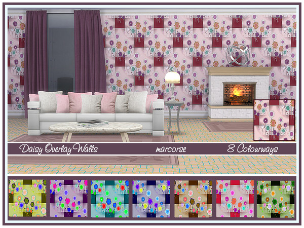 Sims 4 Daisy Overlay Walls by marcorse at TSR