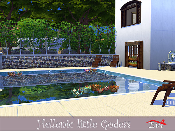 Sims 4 Hellenic Little Godess house by evi at TSR