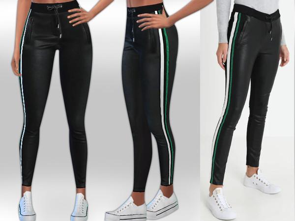 Sosa Side Stripe Leather Leggings by Saliwa at TSR image 1328 Sims 4 Updates