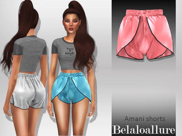 Sims 4 Belaloallure Amani simple satin silk shorts by belal1997 at TSR